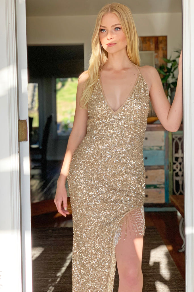 gold beaded fringe dress