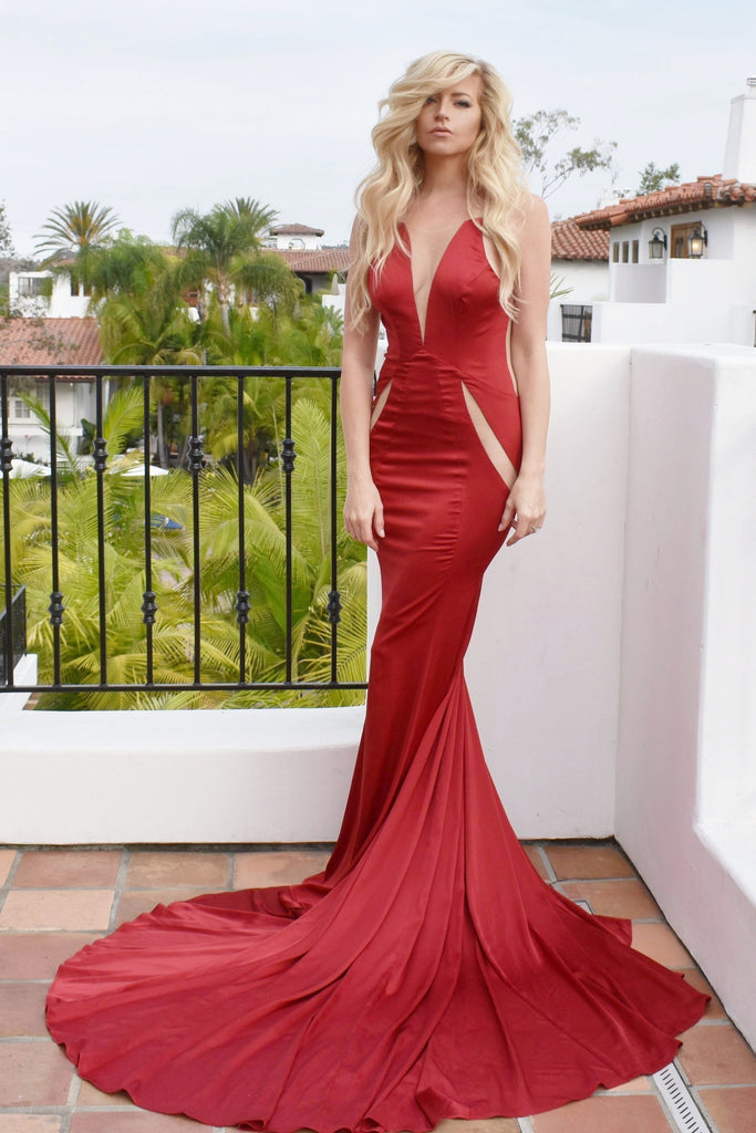 rene the label red satin low back prom dress