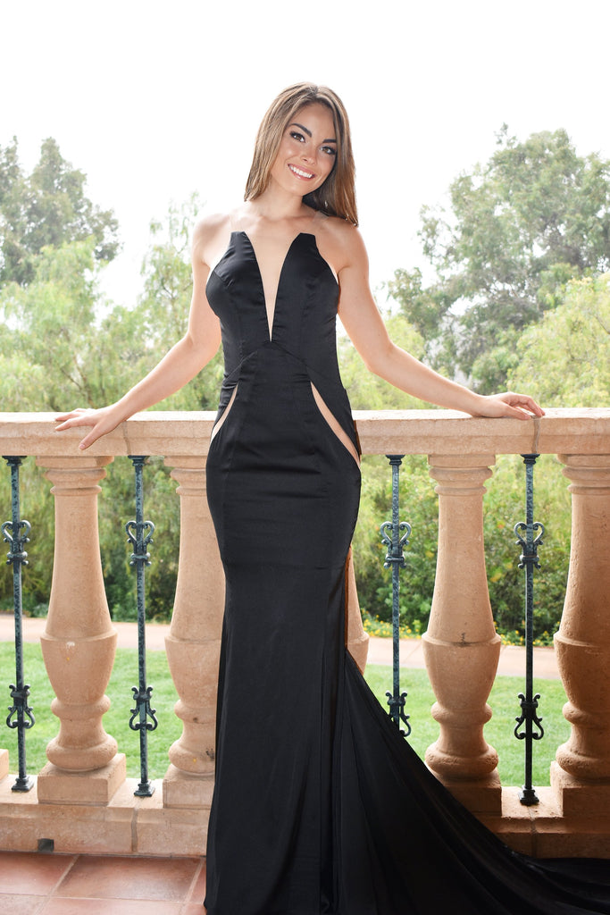 rene the label jordi low back black dress