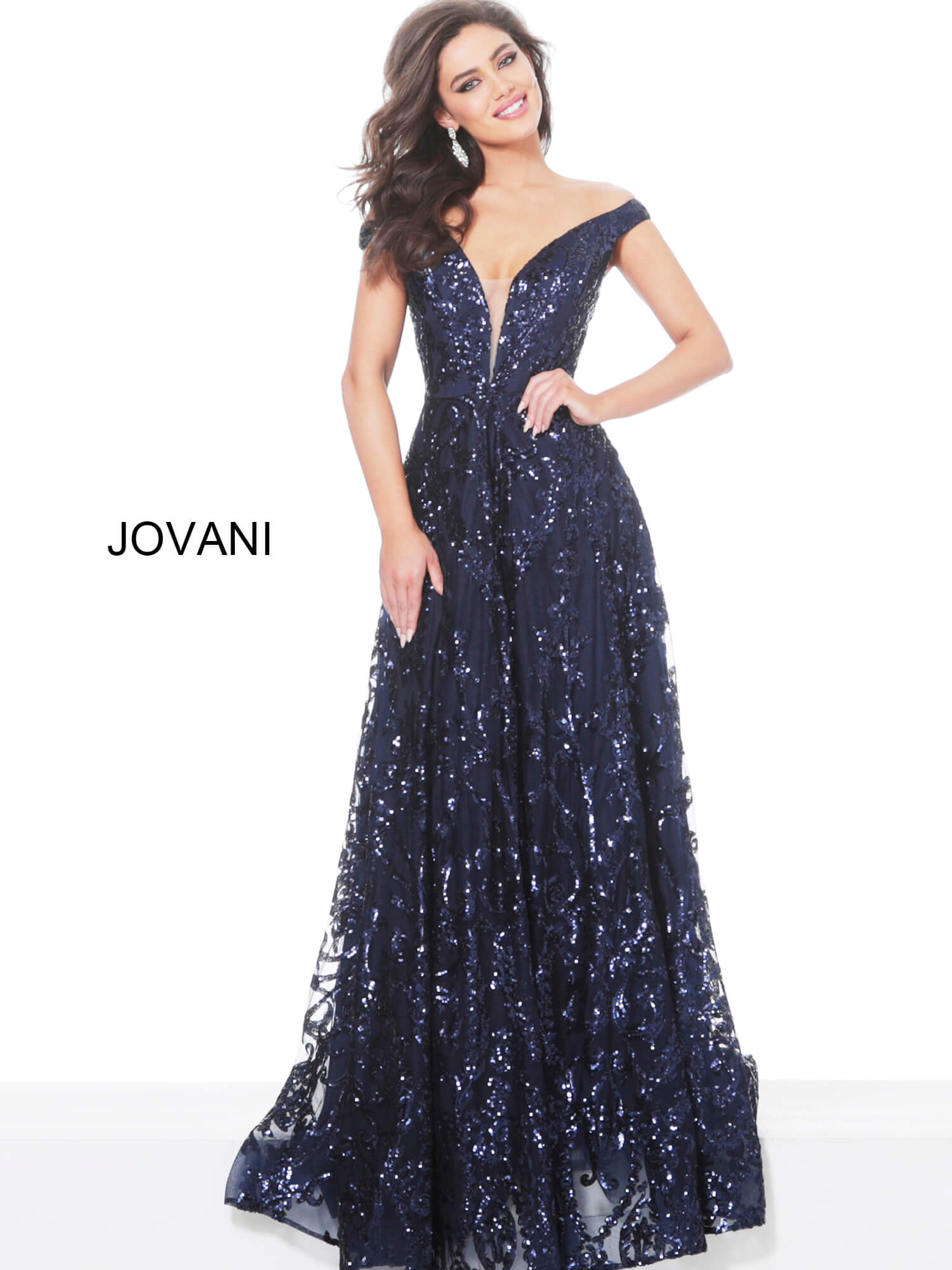 Jovani 02932 off the shoulder plunging neckline aline sequin long dress