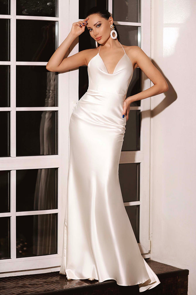 silk satin cowl neckline bridal dress