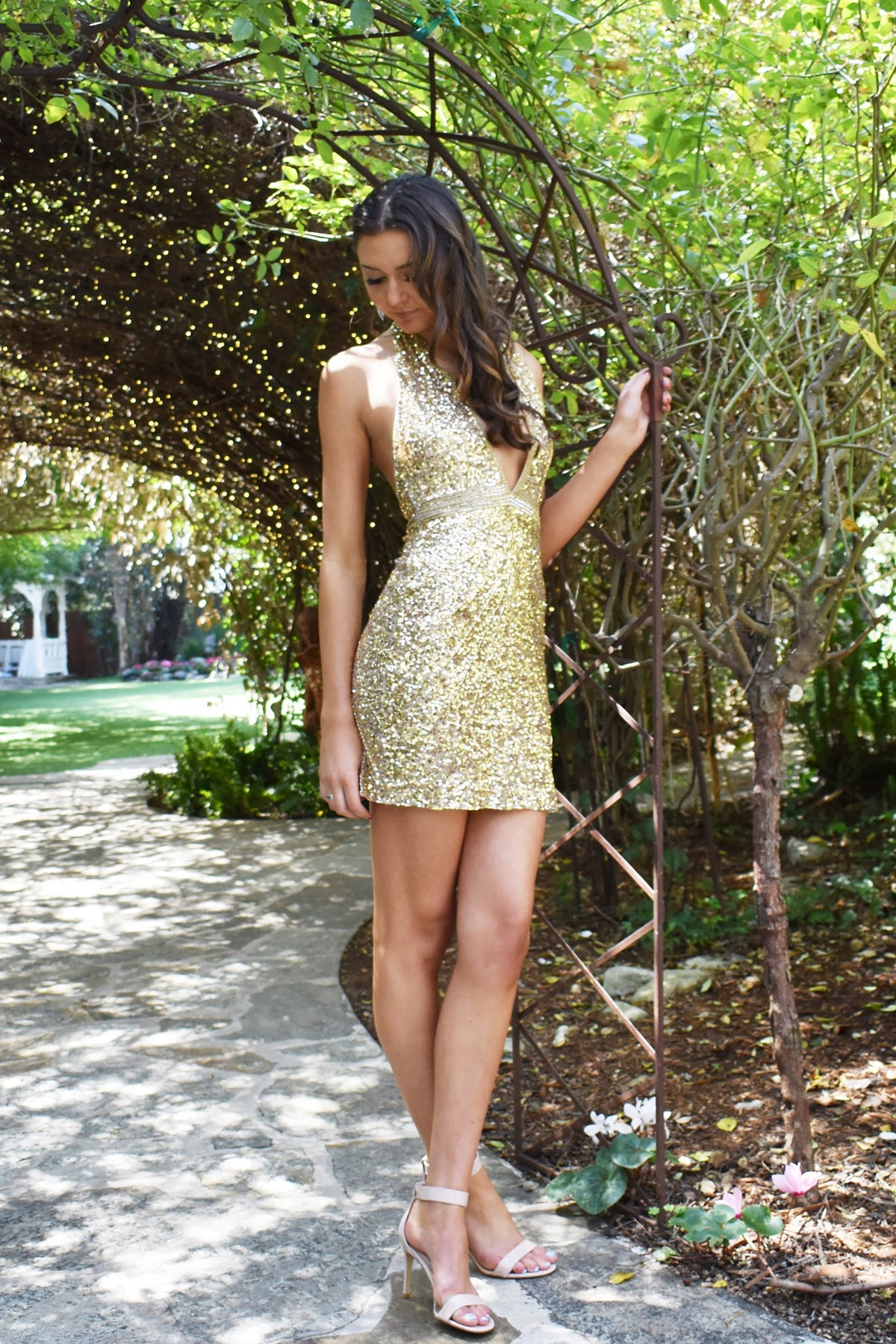 gold halter sequin party dress