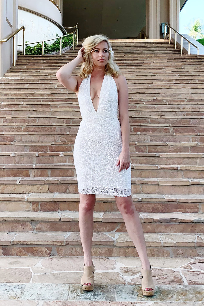 sexy white halter sequin dress