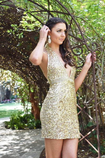 Rene the label gold sequin short dress