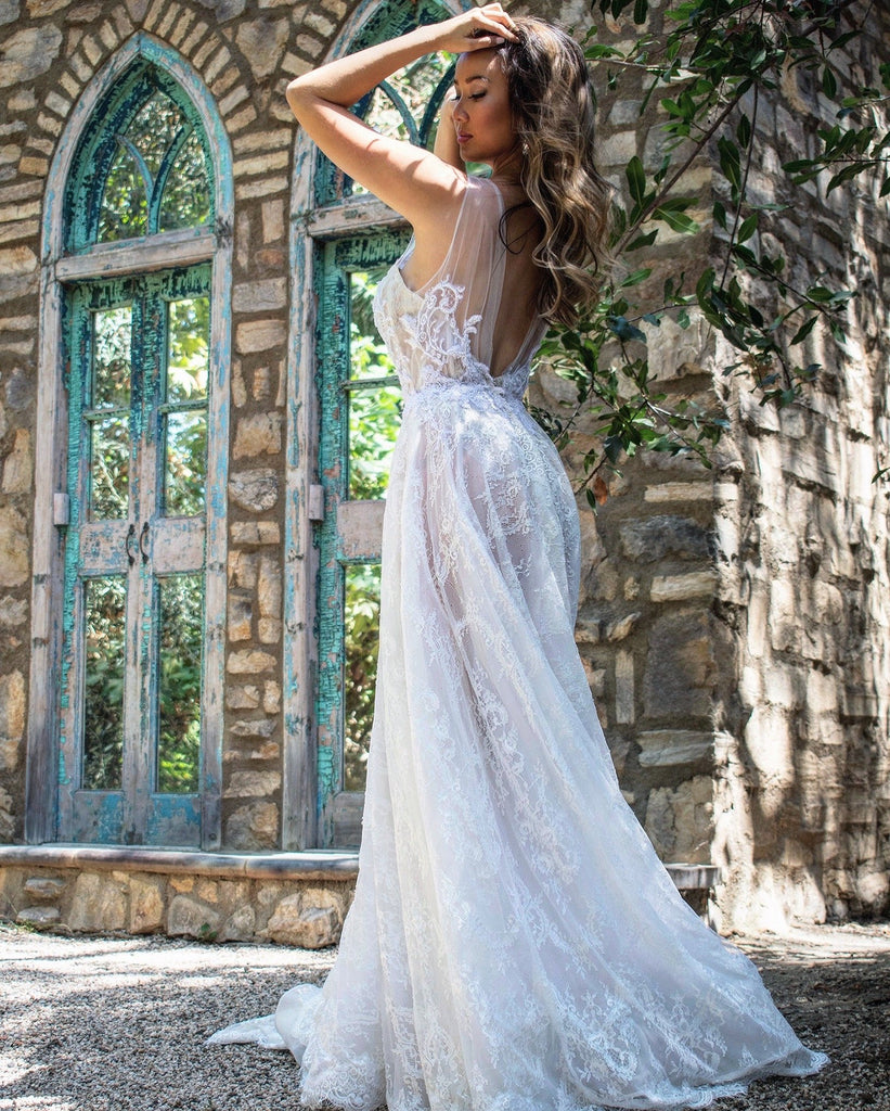 Rene atelier sheer lace bridal gown