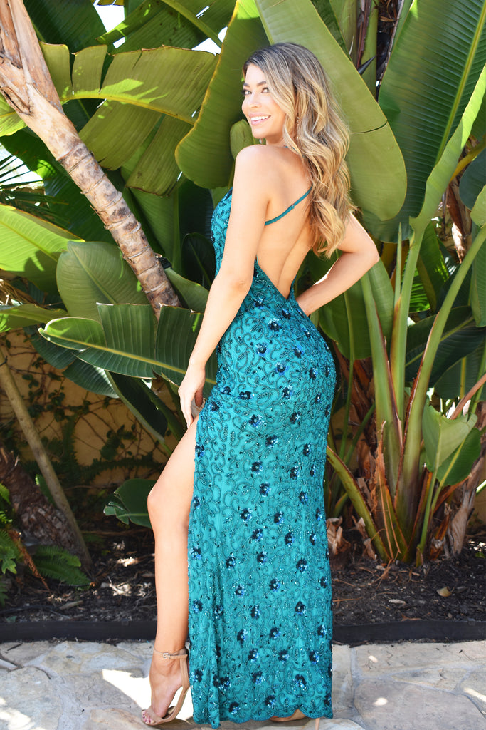 Hand Beaded long Teal Prom Dress with floral detail