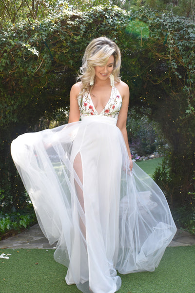 Kona gown white tulle destination wedding dress