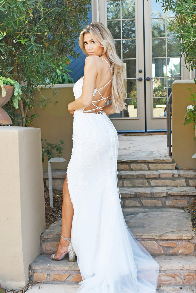 white lace up kourtney gown