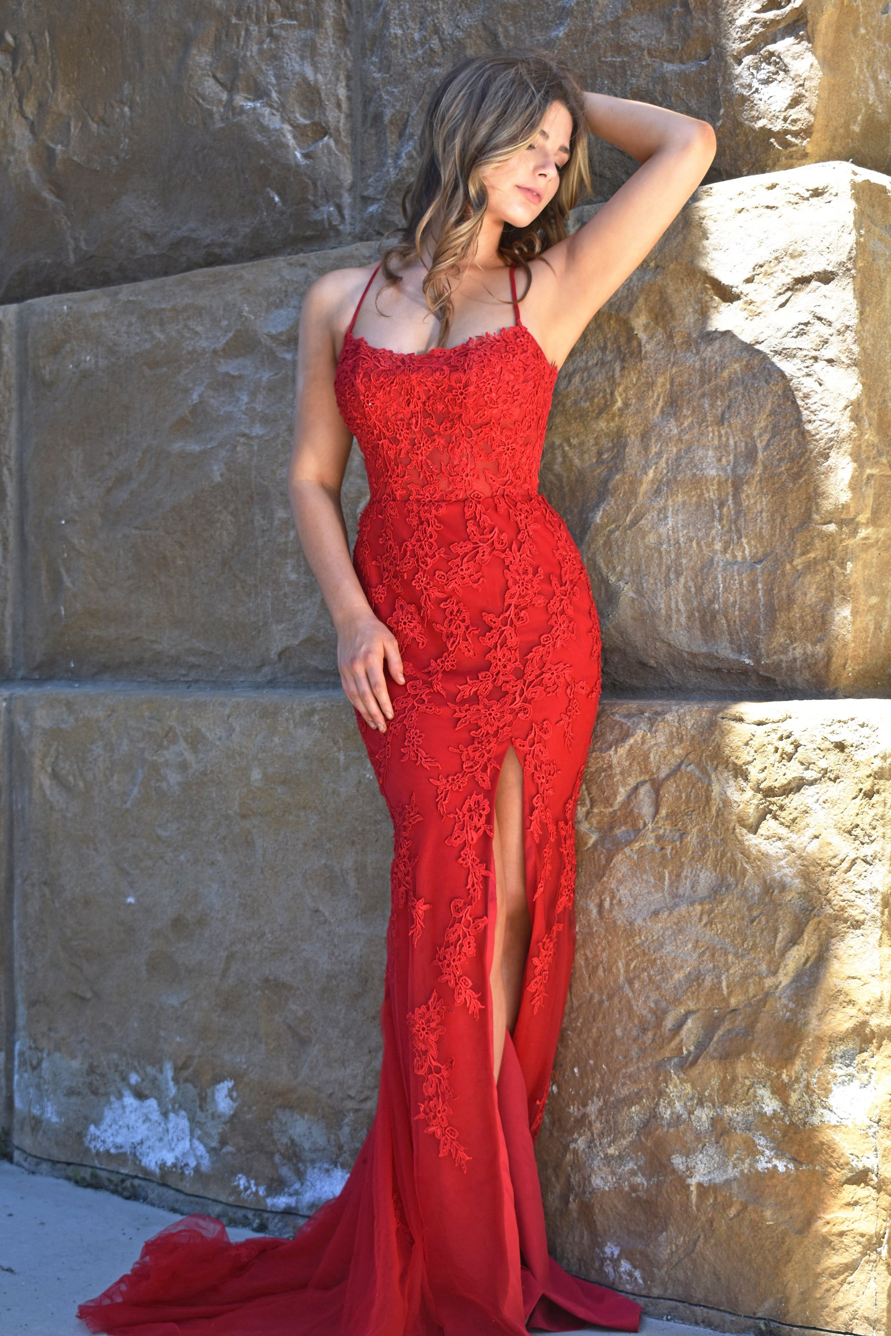 red fitted alisha gown