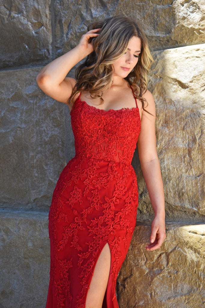 red lace sexy prom dress