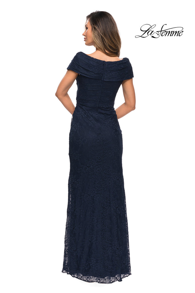 La Femme navy blue mother of the bride dress