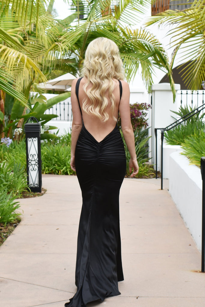 rene the label fitted low back black satin halter dress