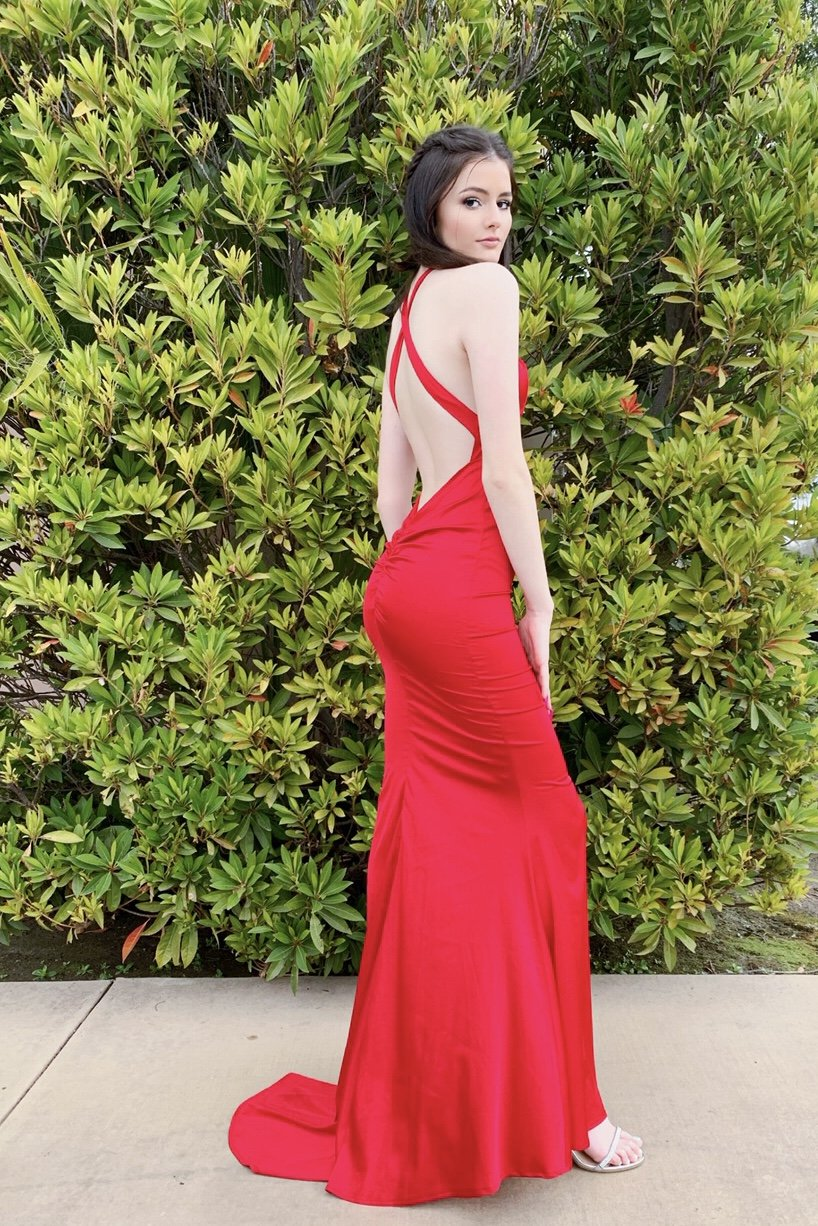 Rene the label red satin low back sexy prom dress