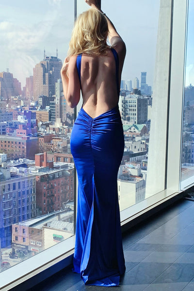 Leah gown royal blue halter