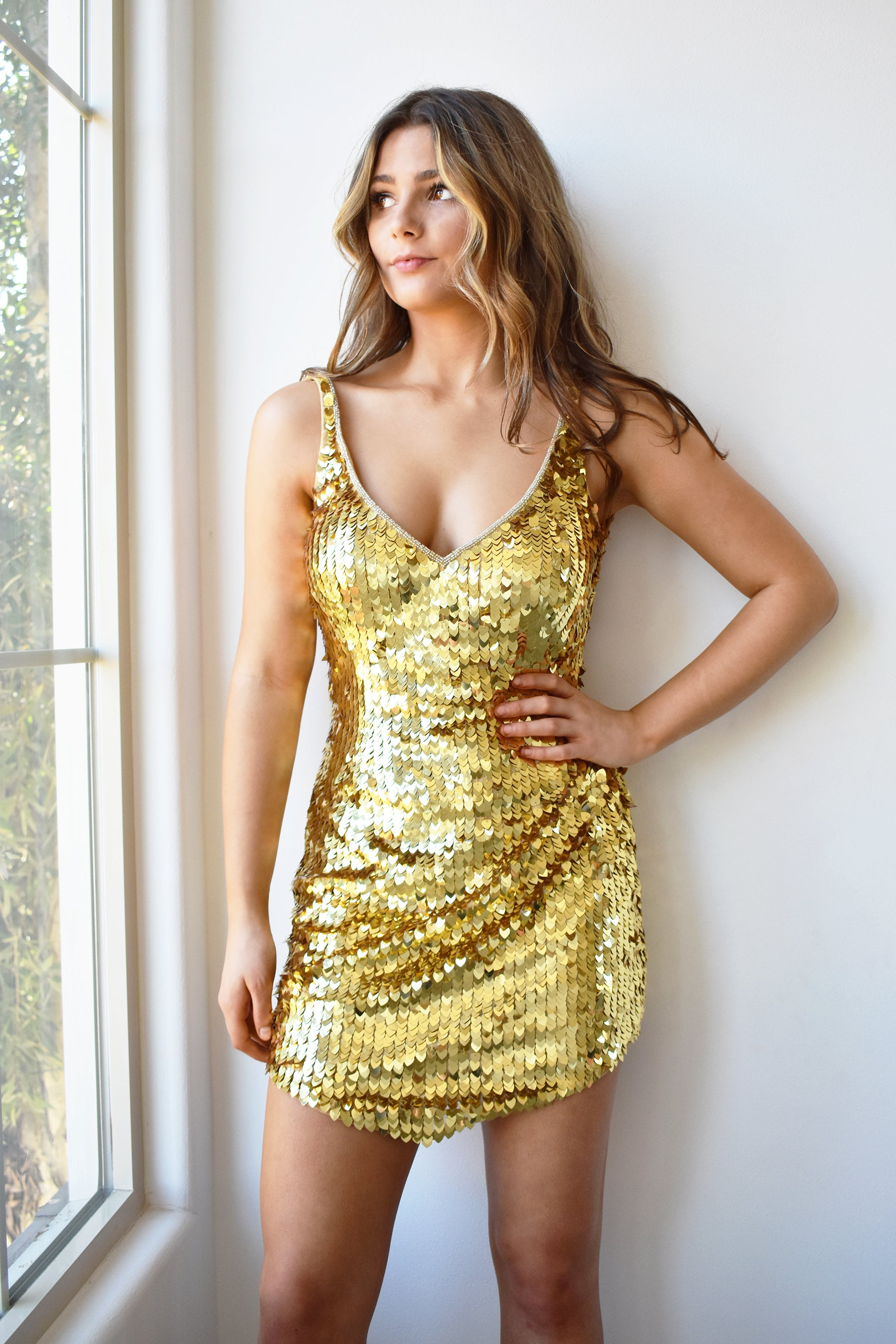 Leighton mini gold sequin dress