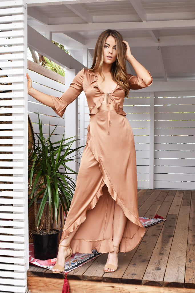 Lexi gown gold satin dress