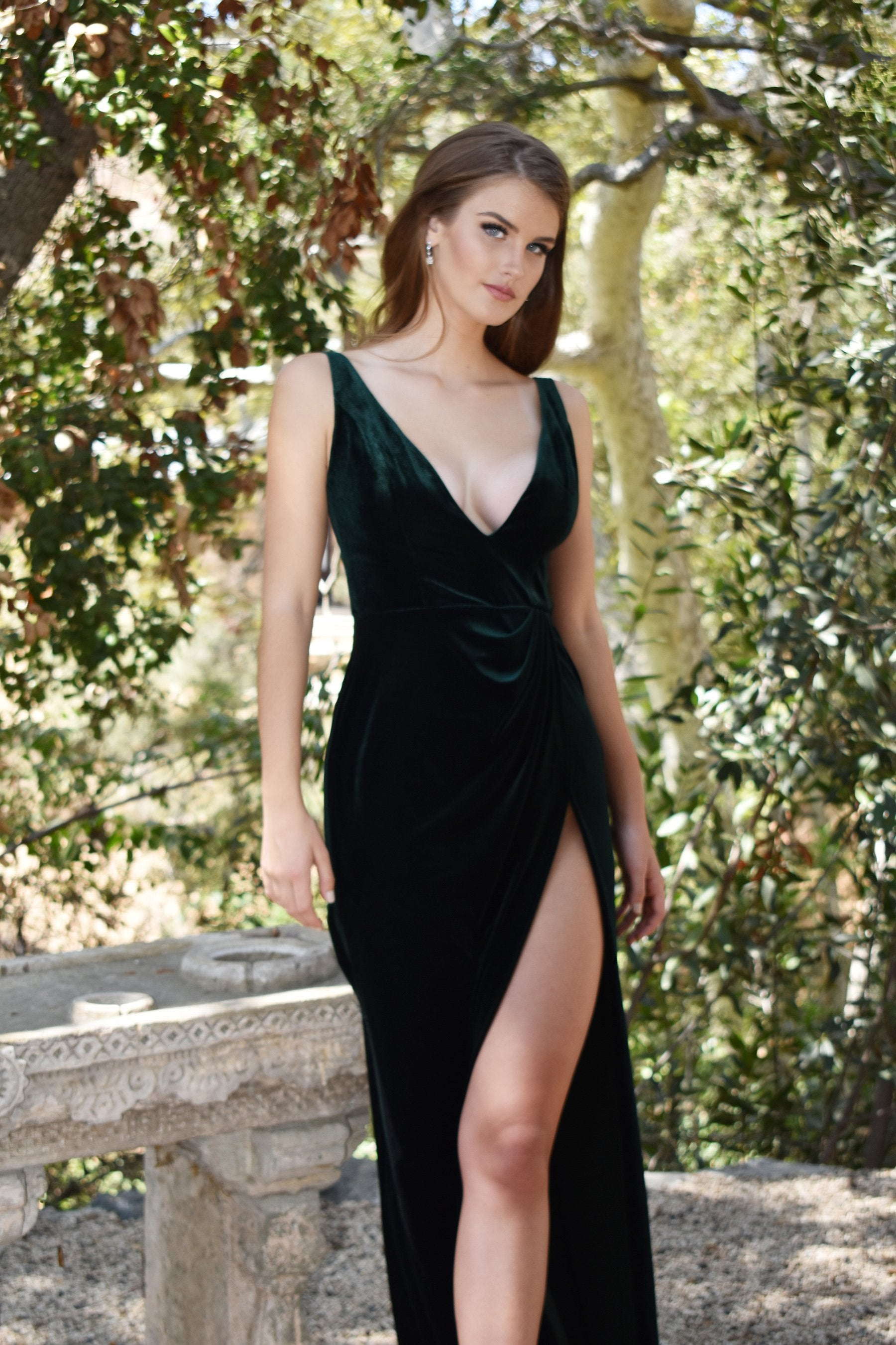 rene the label green velvet dress