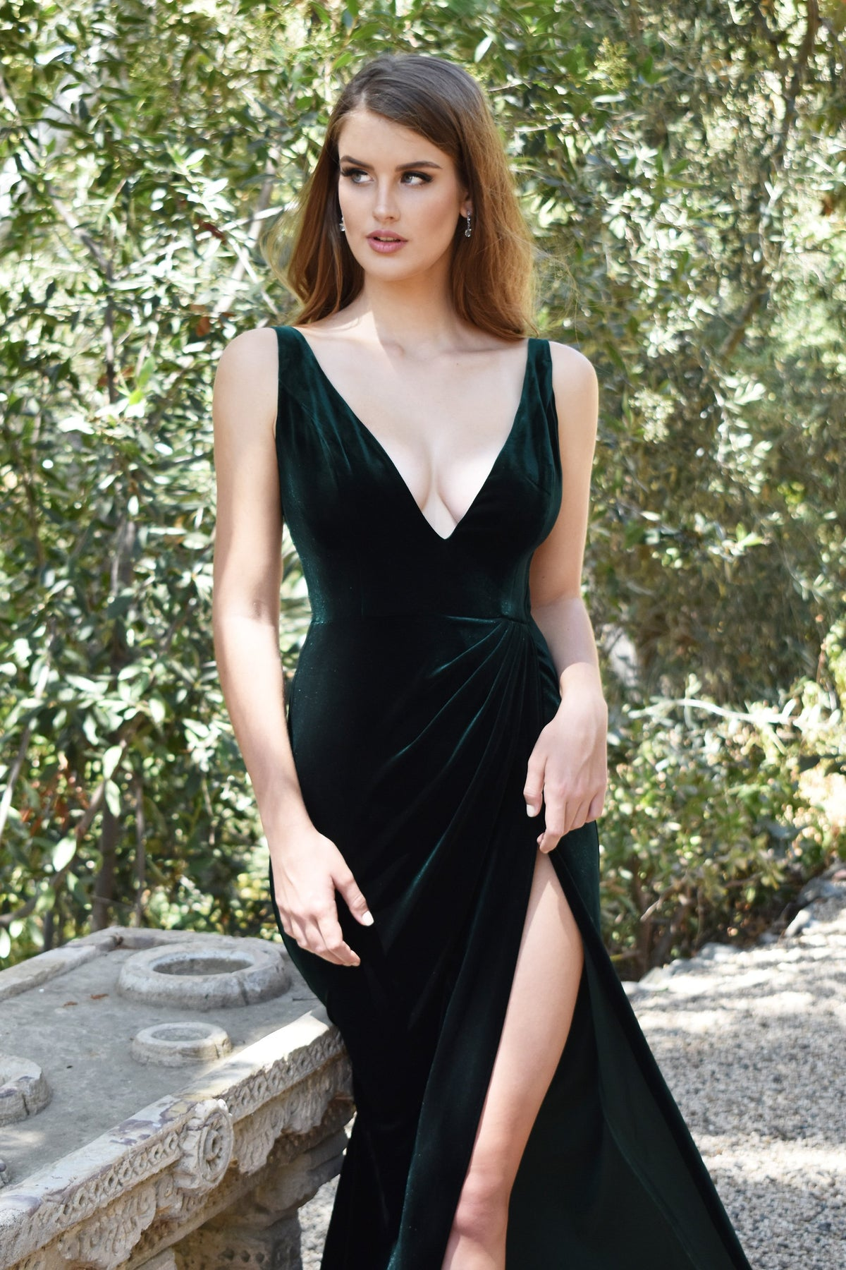 rene the label hunter green velvet dress