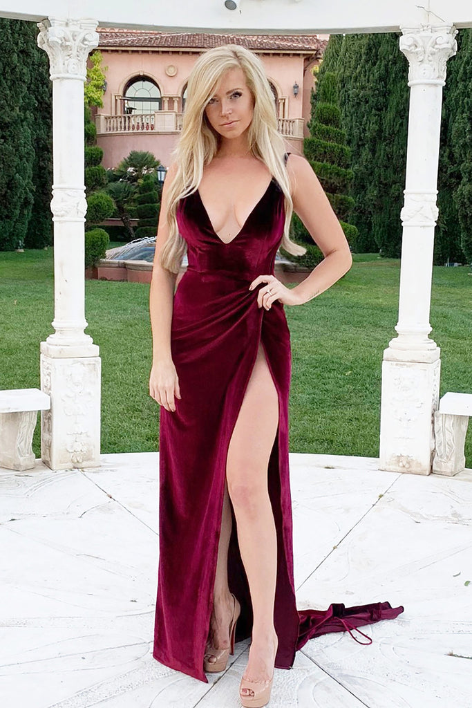 rene the label lindsey gown red velvet dress