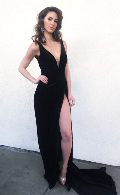 Lindsey gown black velvet dress