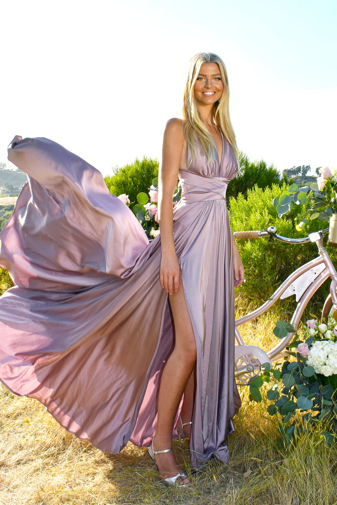 satin a line dress attending a wedding