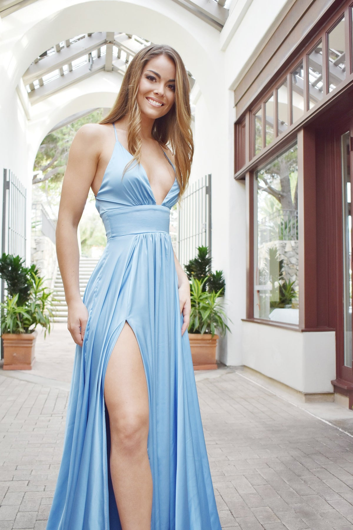 rene the label madeline gown blue