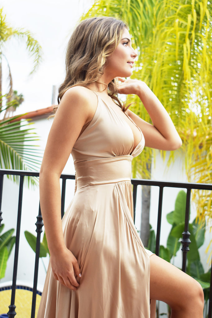 gold satin bridesmaid dress