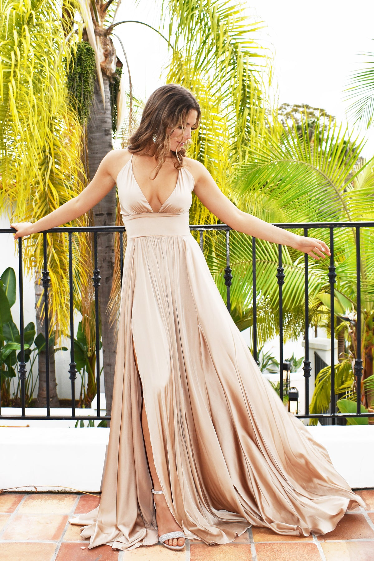 Rene the label Madeline gown in gold