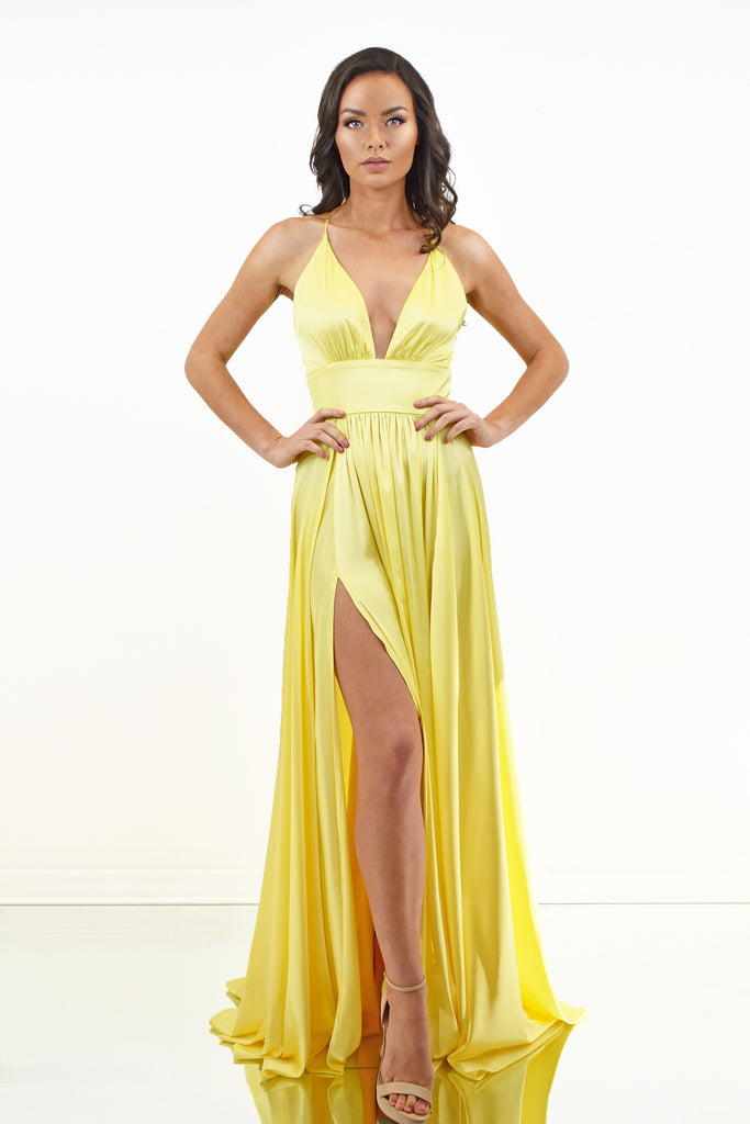 yellow satin prom dress