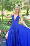 royal blue satin prom dress