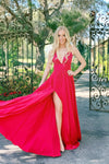 rene the label red satin prom dress