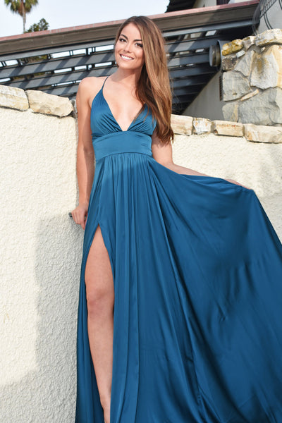 rene the label teal prom and bridesmaid dress