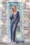 rene the label Madrid dress navy blue long sleeve beaded dress