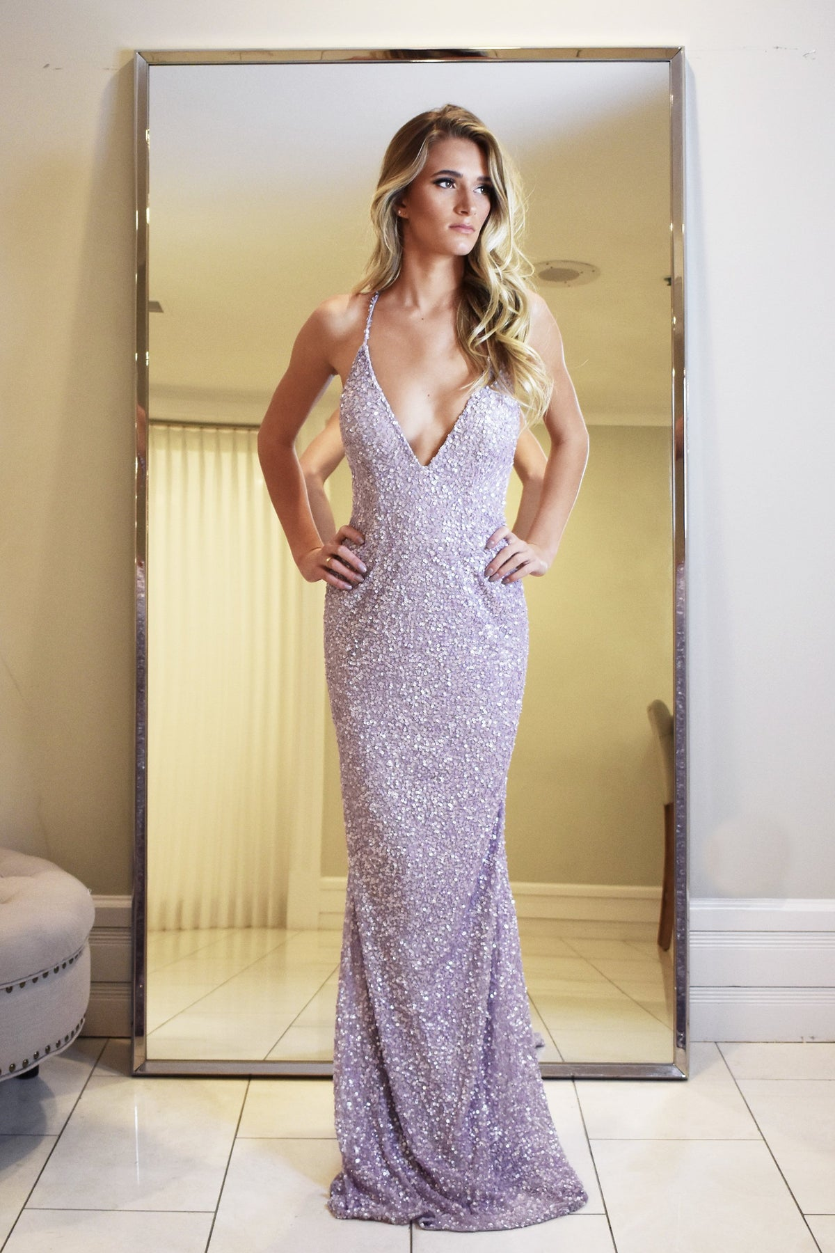 Rene the label lavender low back sequin dress