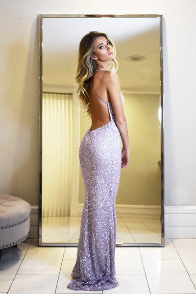light purple low back sequin prom dress