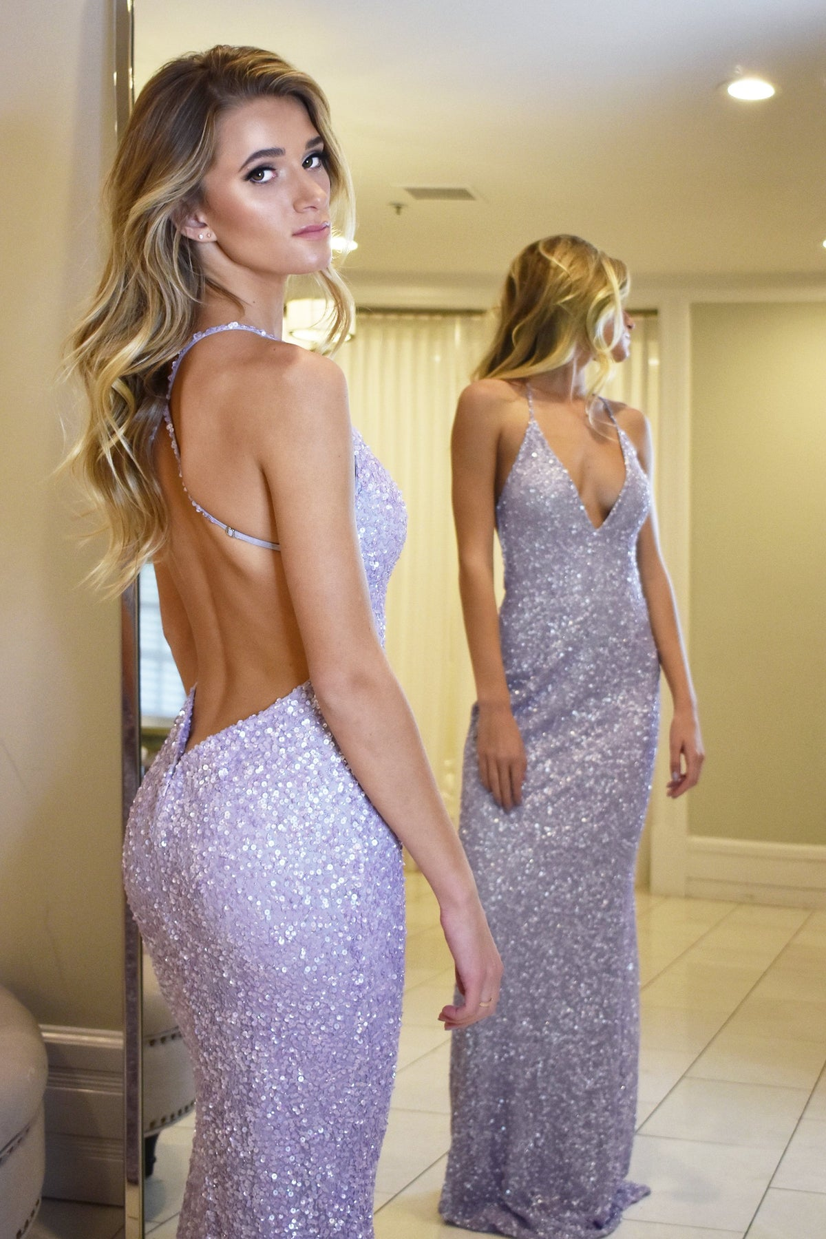 Maldives low back sequin dress