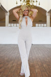 white sparkle halter jumpsuit