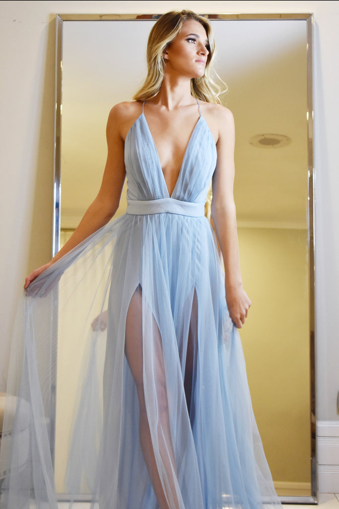 maui gown light blue tulle prom dress