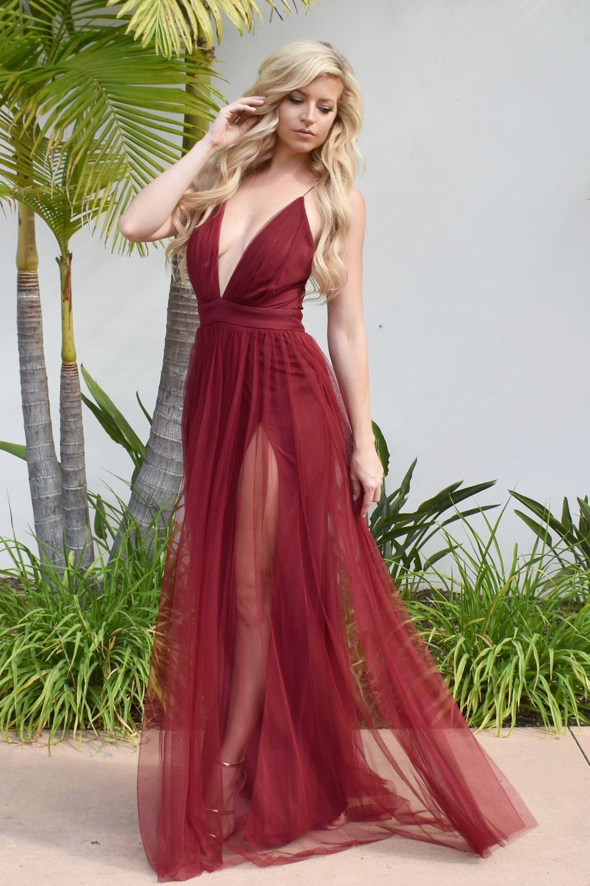 Maui gown red burgundy tulle prom dress with double slits
