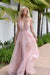 Maui gown blush tulle prom dress with double slits