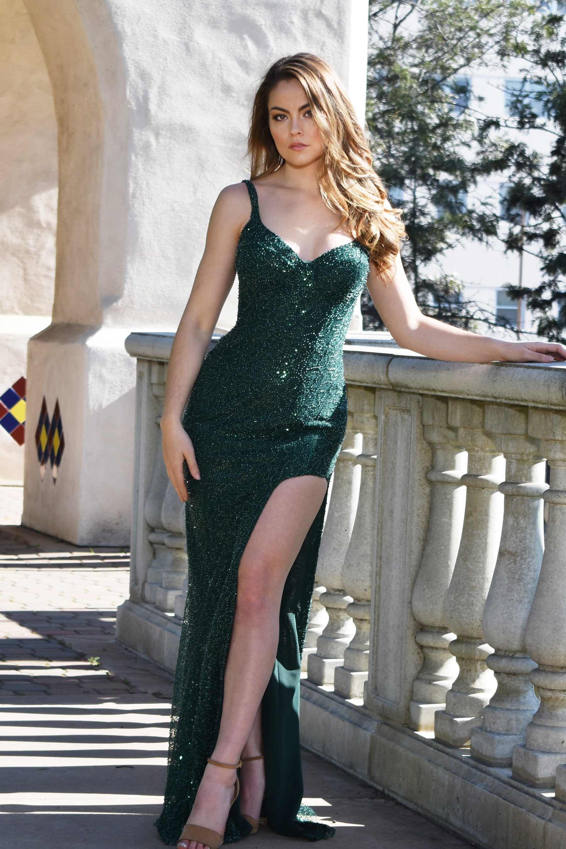 emerald green beaded prom dress