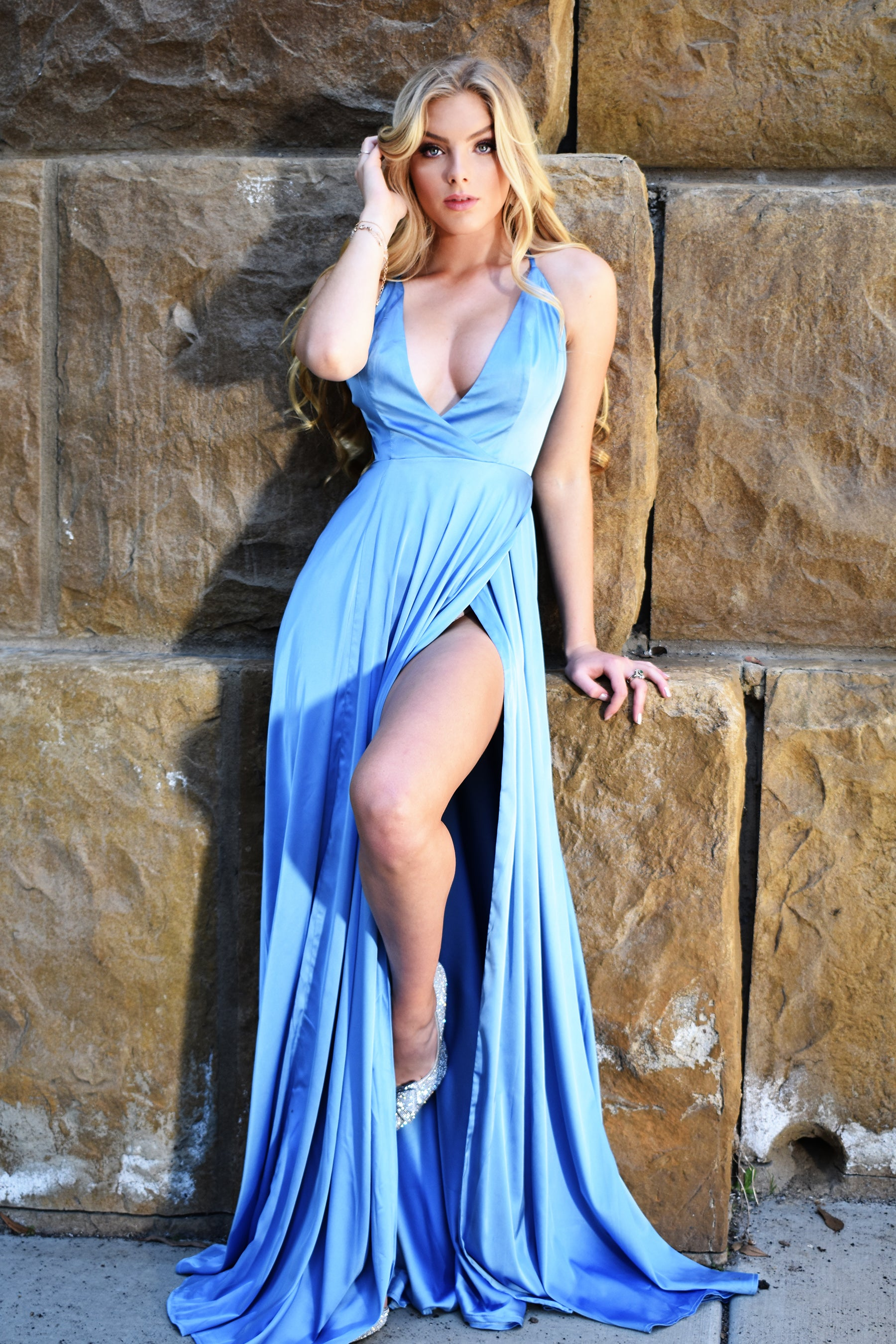 sexy light blue satin prom dress