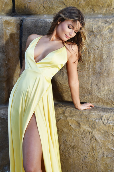 sexy yellow satin prom dress