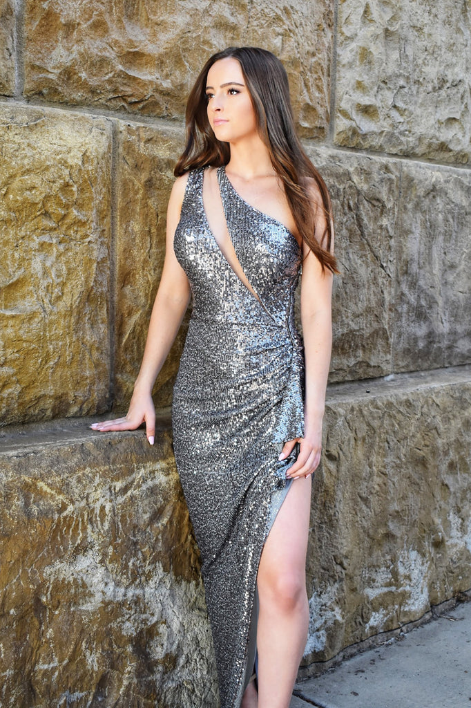 Nicole bakti one shoulder silver sequin dress