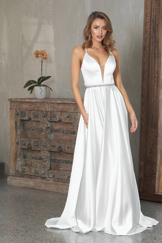 tania olsen white satin dress