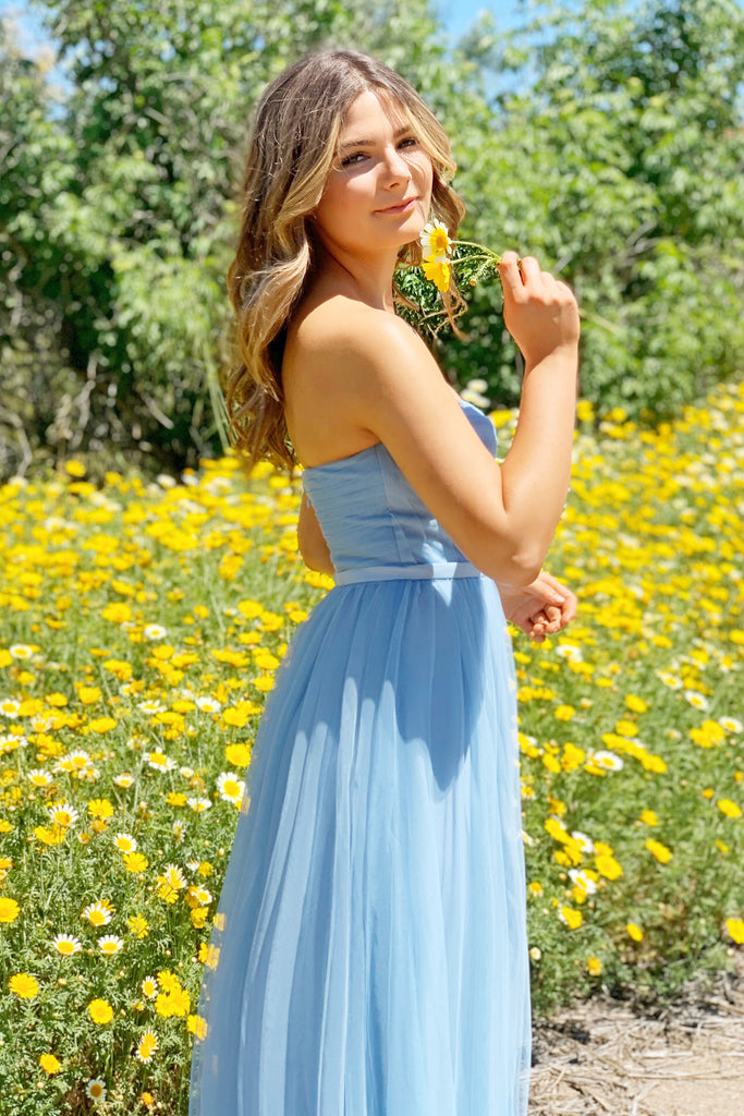 light blue bustier tulle dress