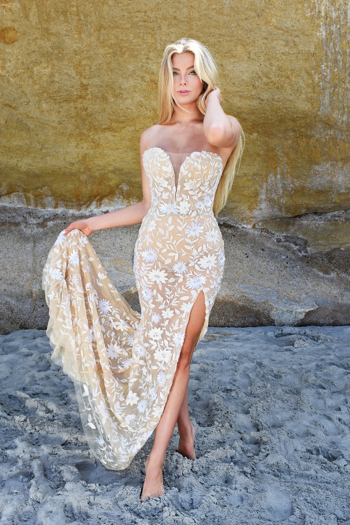 ivory strapless floral destination bridal gown