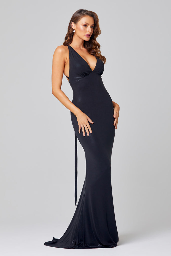 Tania olsen Kian black halter dress