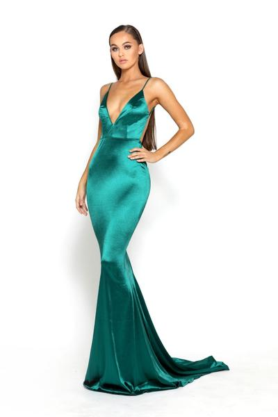 portia and Scarlett low back emerald green prom dress