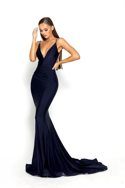 low back blue prom dress